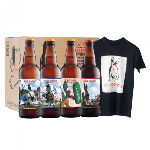 Black Donkey Beer Bottles with Black Donkey T-shirt
